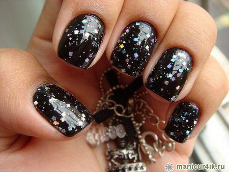 черный дизайн ногтей: