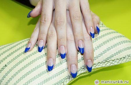 фото нарощенных ногтей синий френч