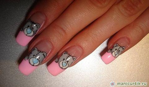 фото маникюр с мишками тедди