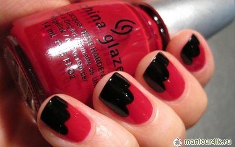 Дизайн ногтей бирюзового с черным цвета