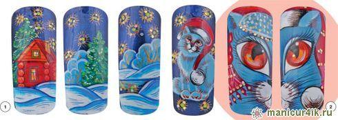 Дизайн на ногтях снегурочка