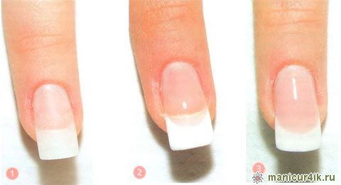 Дизайн френча на коротких ногтях
