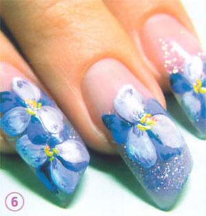 Фиалки на ногтях маникюр 134